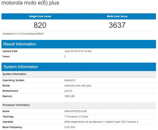 Moto E6 Plus with MediaTek Helio P22 SoC and Android Pie appears on Geekbench listing