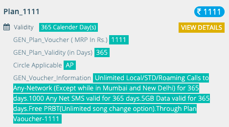 BSNL Rs1111 Prepaid Recharge Pla