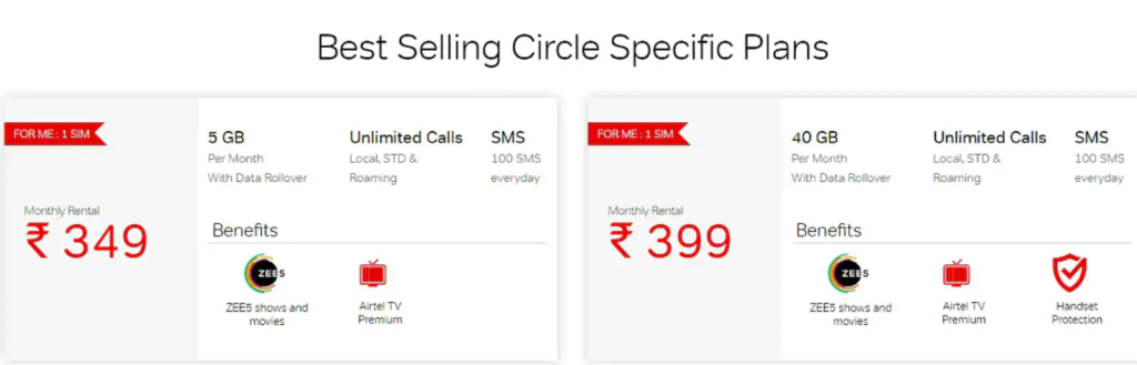 Airtel Rs 349 and Rs 399 Postpaid Plans