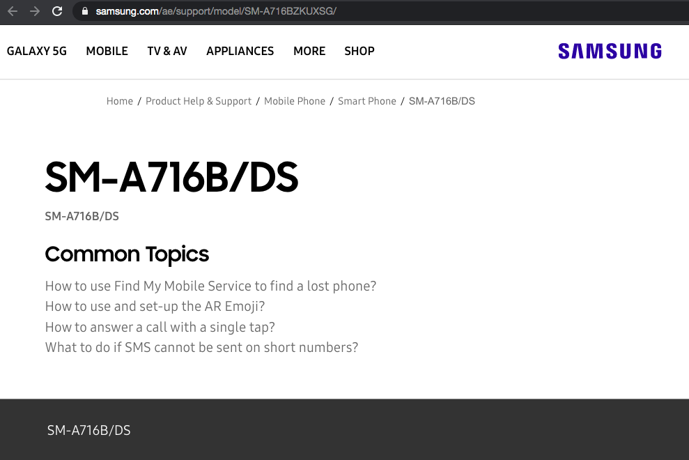 Samsung Galaxy A71 5G Support Page